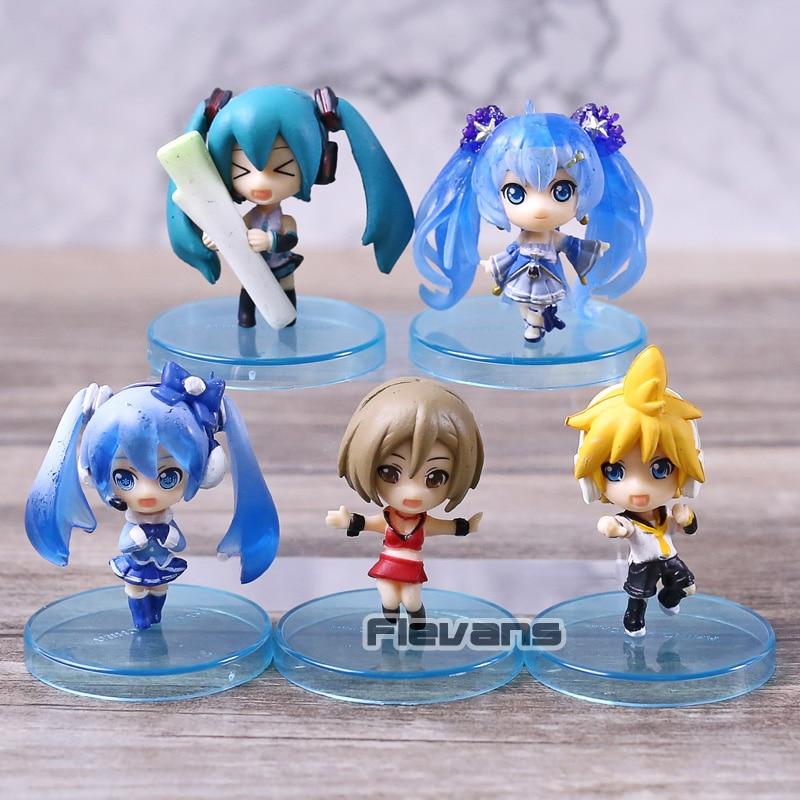 Vocaloid Hatsune Miku nieve Miku Kagamine Ren Meiko de PVC figuras juguetes colgantes llaveros 5 unids/set