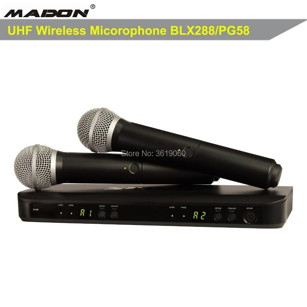 Envío Gratis, BLX88/PG58,BLX288 profesional UHF PLL true diversity micrófono inalámbrico, micrófono inalámbrico dual