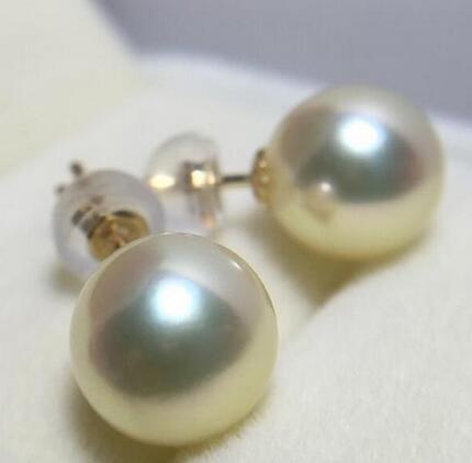 Livraison gratuite>>>> bijoux nobles superbe AAA 7.5-8 MM japonais AKOYA blanc perle boucle doreille 14 K