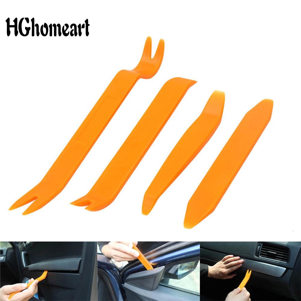 HGhomeart, 4 Uds., desmontaje de automóviles, juego de herramientas de mano de palanca de plástico, coche, Radio, puerta, Clip, instalador de eliminación de Audio, herramientas de palanca