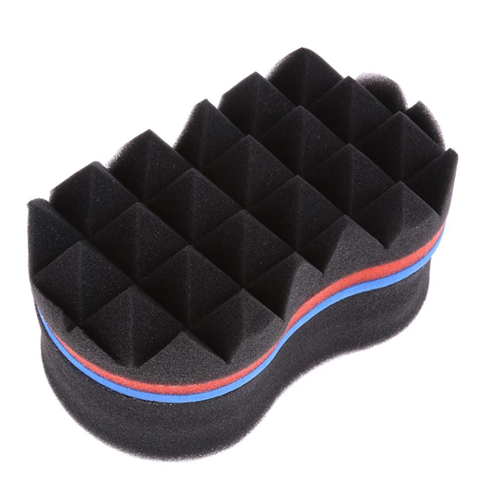 19*11.5*9.2cm esponja de cabelo preto masculino linha onda dupla encaracolado escova esponja cabeleireiro ferramentas estilo