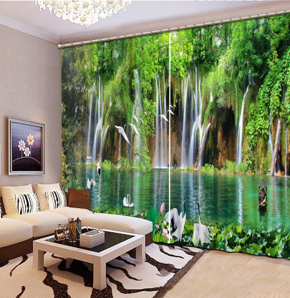 Natur wasserfall landschaft 3d vorhang Neue stil Vorhang fenster raum Vorhänge für schlafzimmer Dekoration