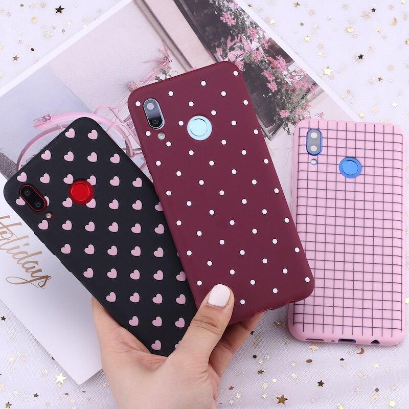 For Huawei Honor Mate 10 20 Nova P20 P30 P40 P Smart Polka Dot Striped Heart Burgundy Candy Silicone Phone Case Capa Fundas