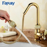 fapully gold bathroom faucet single handle basin pull out sink faucets water mixer tap double color jade handle deck mounted