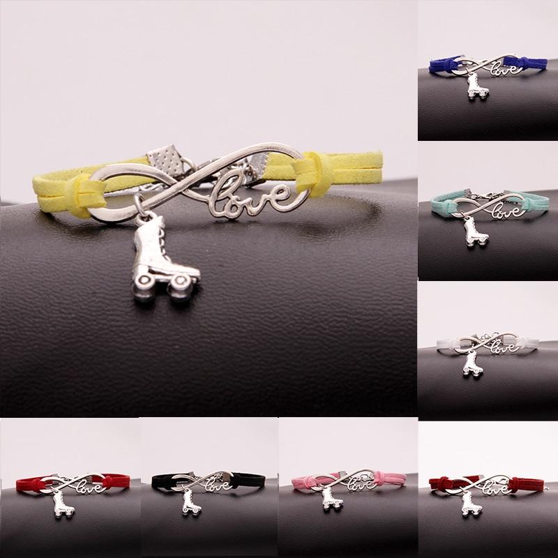 (12 unids/lote) pulsera Infinity Love hecha a mano, colgante de patines de ruedas, pulseras simples y pulseras para mujer y hombre, joyería de 15 colores