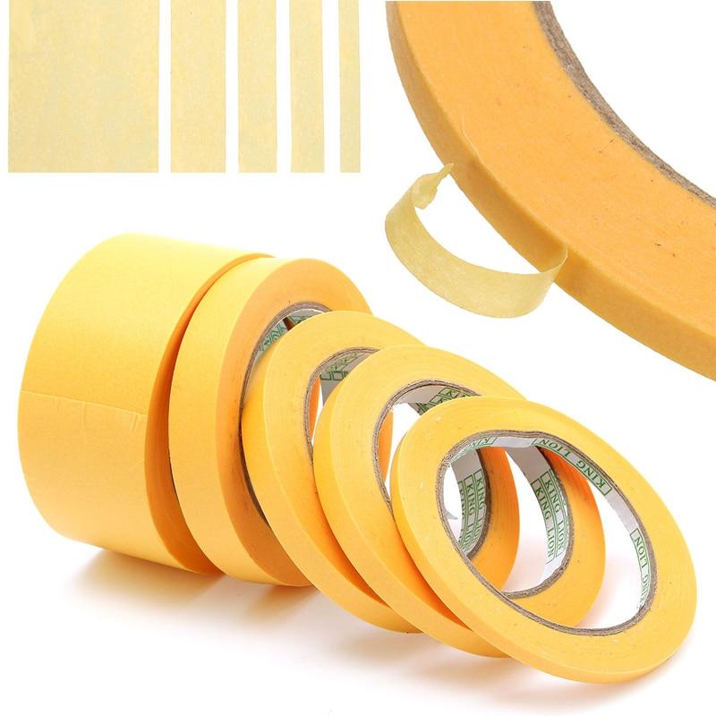 Cinta Amarilla de 50M 6mm/10mm/12mm/18mm/50mm cinta adhesiva aislante cinta adhesiva de papel de pintura en aerosol Mayitr