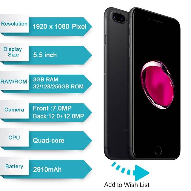 Apple iPhone 7 Plus 3GB RAM 32/128GB/256GB ROM IOS Quad-Core 12.0MP Camera Fingerprint Original iPhone7 Plus LTE Mobile Phone 2