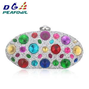 New fashion Colorful Crystal Oval Women Toiletry Bag  Wedding Evening Clutch Sapphire Wallet Femme Hasp Diamond Handbags Package