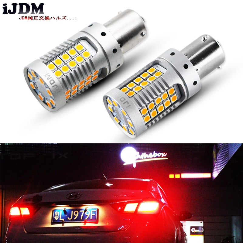 (4) P21W LED الأحمر Canbus OBC لا فرط فلاش 1156 PY21W Bau15s LED الأمامي الخلفي بدوره مصباح إشارة ، أضواء خلفية ، أضواء الفرامل