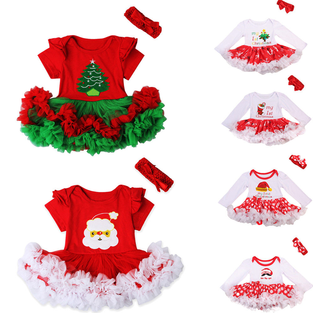 Babies Christmas Multi-style Polka Dots Ruffle Dress Newborn Baby Girls Cute Dress Headband Party Outfit Costume Xmas Clothes