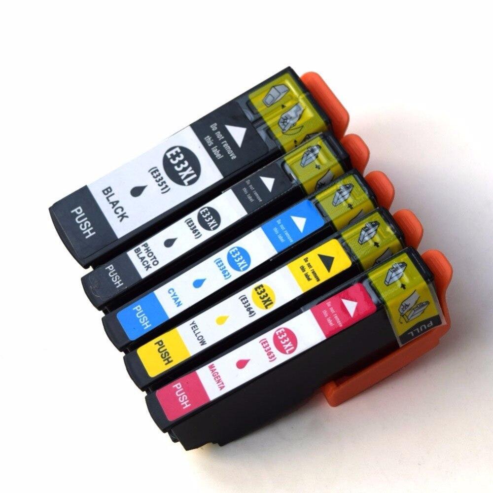 5 paket T33 33XL T3351-T3354 için uyumlu mürekkep kartuşu Epson Expression Premium XP-530 XP-630 XP-635 XP-640 XP-830 XP-900