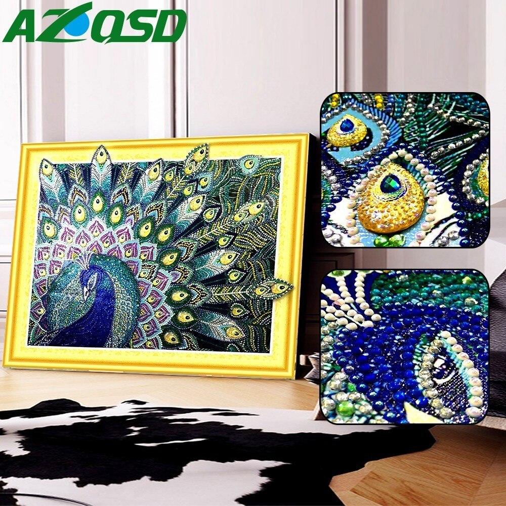 AZQSD pintura de diamante de pavo real Forma especial ronda parcial taladro pared arte 5D DIY mosaico de diamantes Animal decoración del hogar regalo