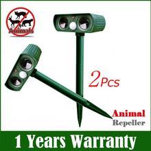 Répulsif Animal à énergie solaire   2 pièces, répulsif Animal ultrasonique pour lextérieur chien/chat/oiseau/taupe, mouvement PIR Foxes fournitures de jardin