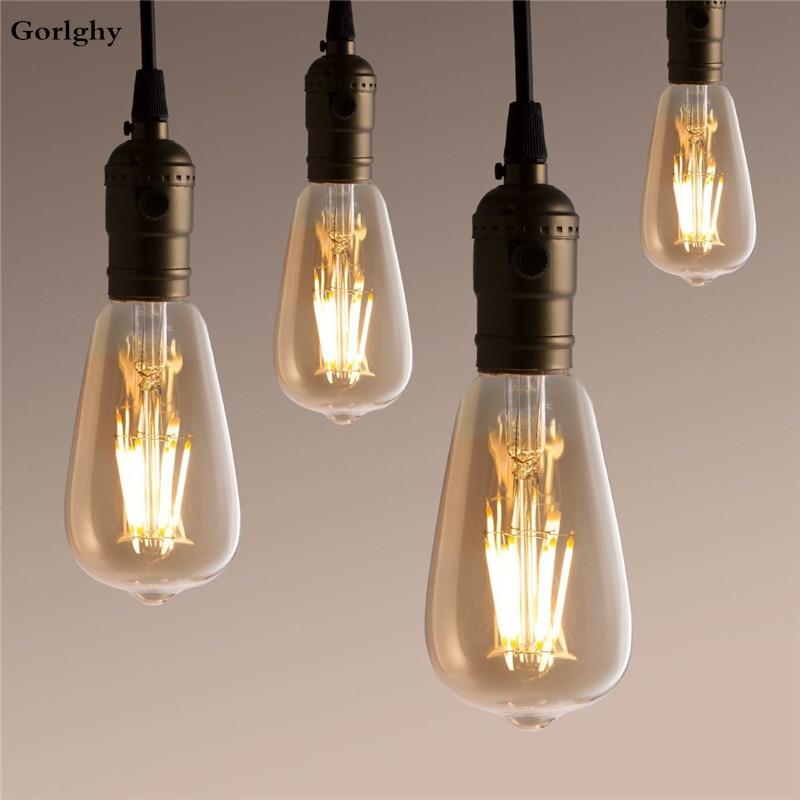 6 шт накаливания Ретро лампа Эдисона 6 Вт E27 светодиодный ламп накаливания ST64 6 светодиодный s COB декоративная тёплый Белый 220-240V 60 Вт лампы