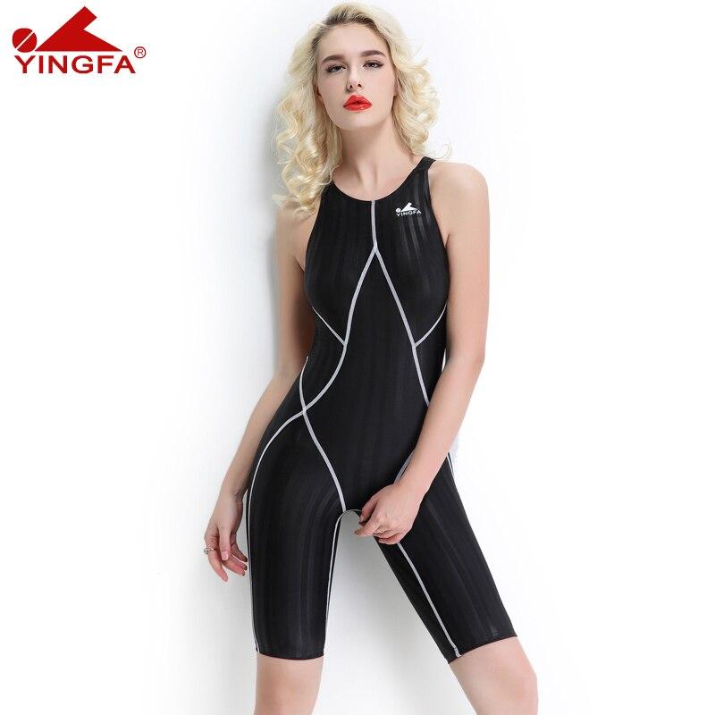 Yingfa fina aprovado roupa de banho uma peça competitiva na altura do joelho à prova dwaterproof água cloro resistente banho feminino sharkskin maiô