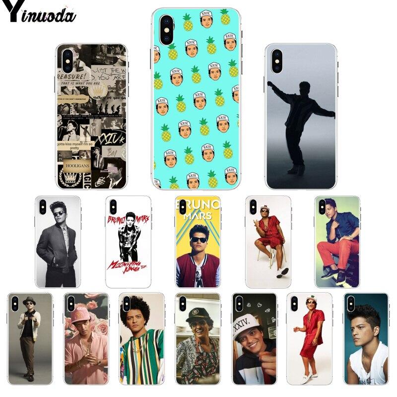 Yinuoda Bruno Mars Coque funda del teléfono carcasa para iPhone 8 7 6 6S Plus 5 5S SE XR X XS X MAX Coque Shell