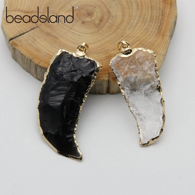 Beadsland piedra Natural piedra semipreciosa cristal Irregular diente Shapped colgante DIY moda collar tamaño 20*50 mm38584