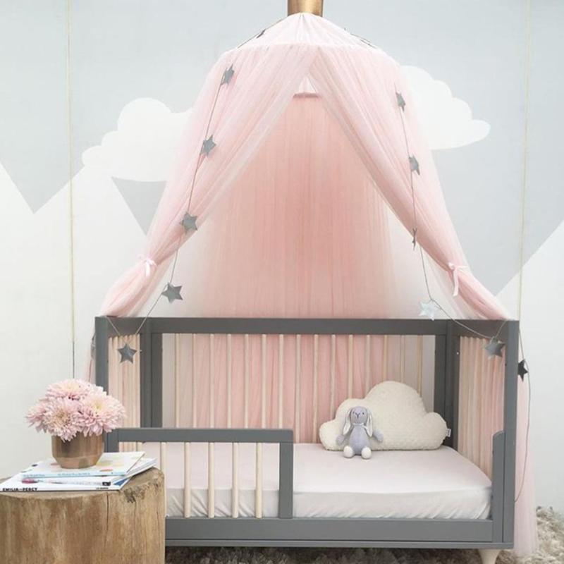 Crianças quarto cama mosquiteiro romântico redonda suave net capa de cama pendurado cúpula dossel evitar mosquitos insetos poeira