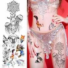 Chaînes de méduses noires autocollants de tatouage temporaire femmes fleur géométrique Art corporel Tatoos galaxie renard aigle cerf faux tatouage orignal