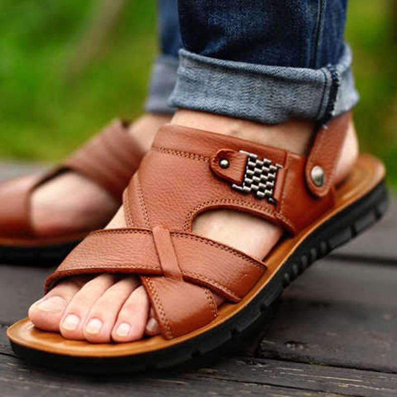 Big Size 48 Men Leather Sandals Summer Classic Men Shoes Slippers Soft Sandals Men Roman Comfortable Outdoor Walking Footwear