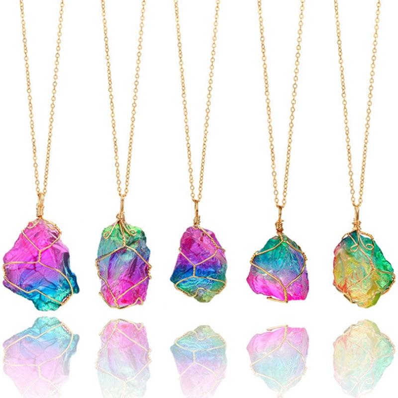 Arco Iris de piedra Natural colgante collar de moda cristal Chakra collar...