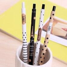 4 Stks/partij Mode 0.5 Mm Automatische Pen Schattige Zwarte En Witte Stippen Plastic Mechanische Potlood Voor Studenten Leren Schrijven Levert