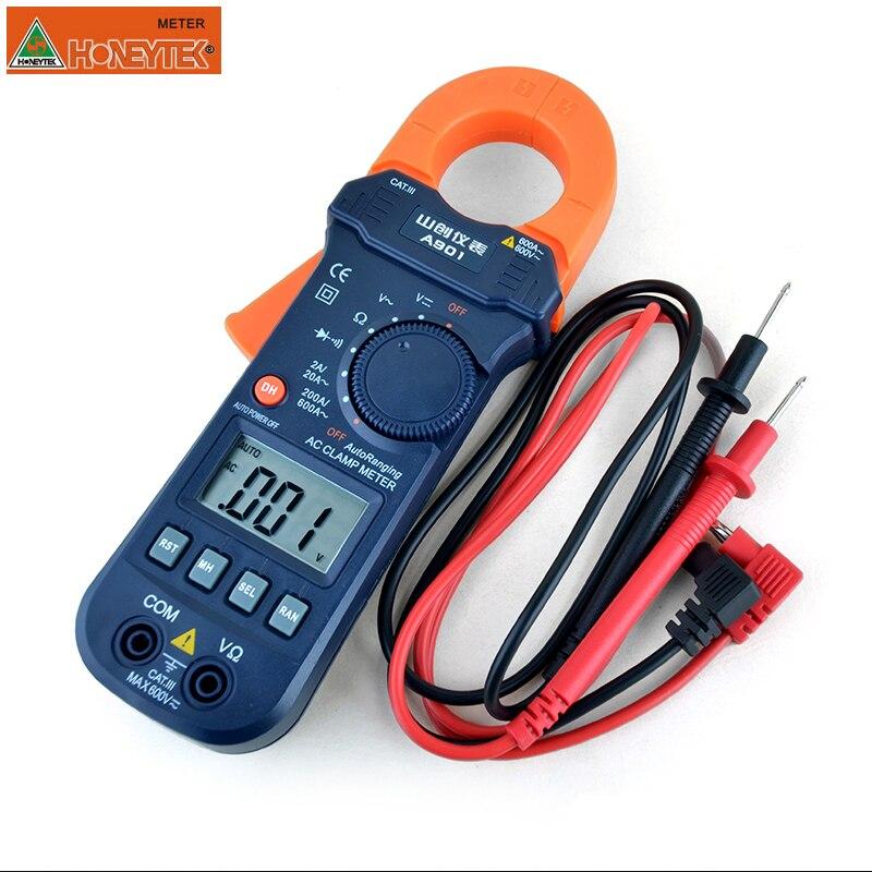 HONEYTEK Clamp Multimeter Amper Clamp Meter  Over Load Protect DC/AC 600A Voltmeter Current Meter Resistance Capacitance Ammeter