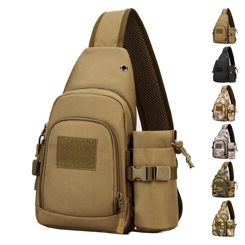 Mochila de nailon para hombre, mochila de pecho, mochila de alta calidad, bolsa de mochila de hombro multiusos, bolsas de eslinga para botella de agua Assualt militar