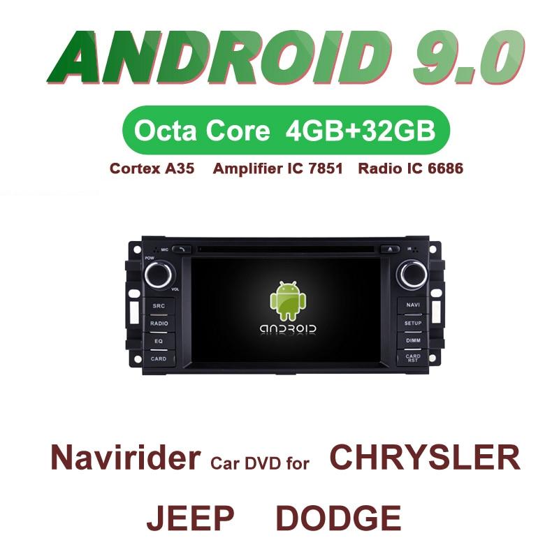 Jogador estereofônico 4-core 8-core do carro de bluetooth do andróide 9.0 de navirider gps dvd para o vingador do dodge do jipe cheroke de chrysler sebring, caravana