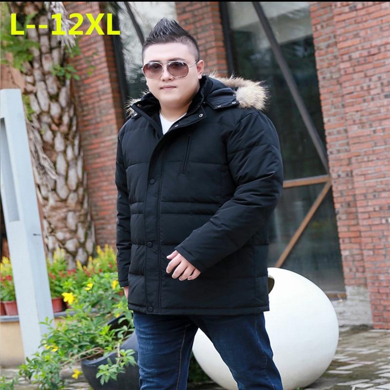 Plus 12XL 10XL 8XL 6XL 2018 New Men down jacket Winter Thick Warm Fashion Patchwork Men's Coat Hooded Men White duck down jacket