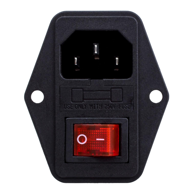 Высокое качество 3 Pin IEC320 C14 Входной модульный Штепсель предохранитель переключатель Мужской Разъем питания 10A 250V
