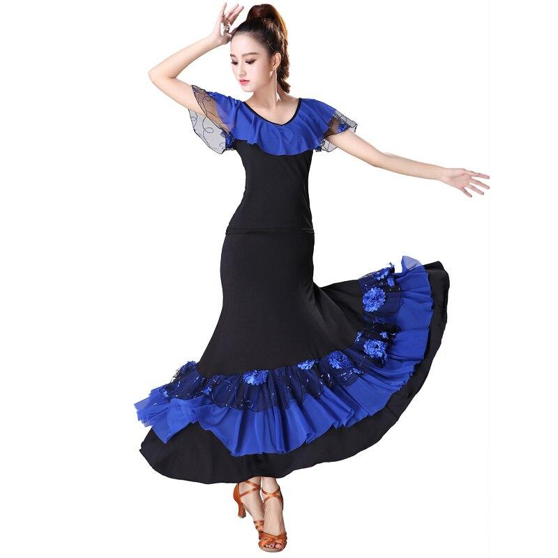 Falda con bordado de lentejuelas de baile, vestido moderno de actuación en concurso de baile, trajes de práctica de competición estándar nacional