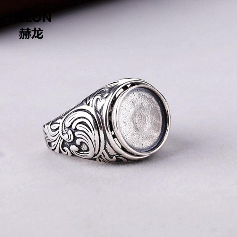 Plata esterlina 925 hombres anillo de compromiso boda 13x13x13mm Oval cabujón Semi montaje de anillo de ajuste ámbar ópalo de color turquesa ajuste Vintage
