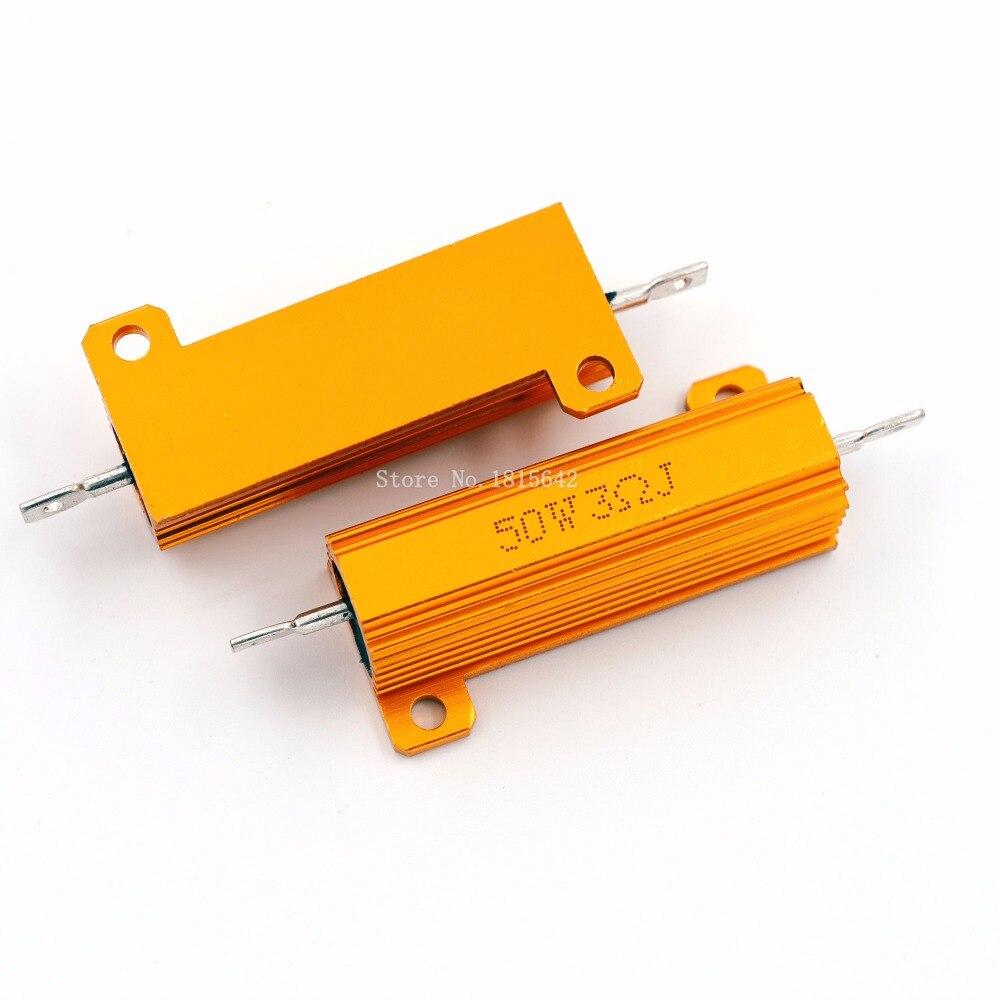 Rx24 50w 3r 3rj metal alumínio caso resistor de alta potência caso escudo de metal dourado resistência do dissipador calor resistor 3 ohm 50w