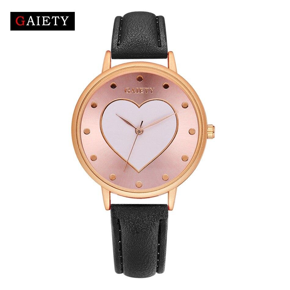 Reloj de pulsera de cuero de marca de lujo de color rosa dorado con corazón para mujer