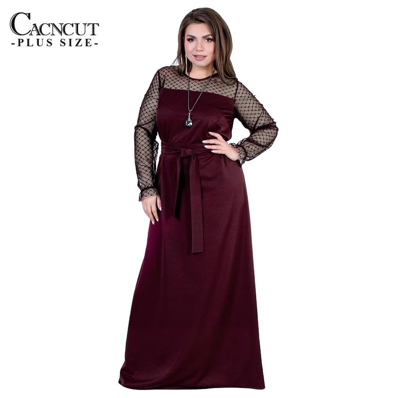 5XL 6XL 2019 Women Plus Size Long Dress Polka Dot Ladies Mesh Large Floor-length Maxi Dress Black Elegant Evening Party Vestido