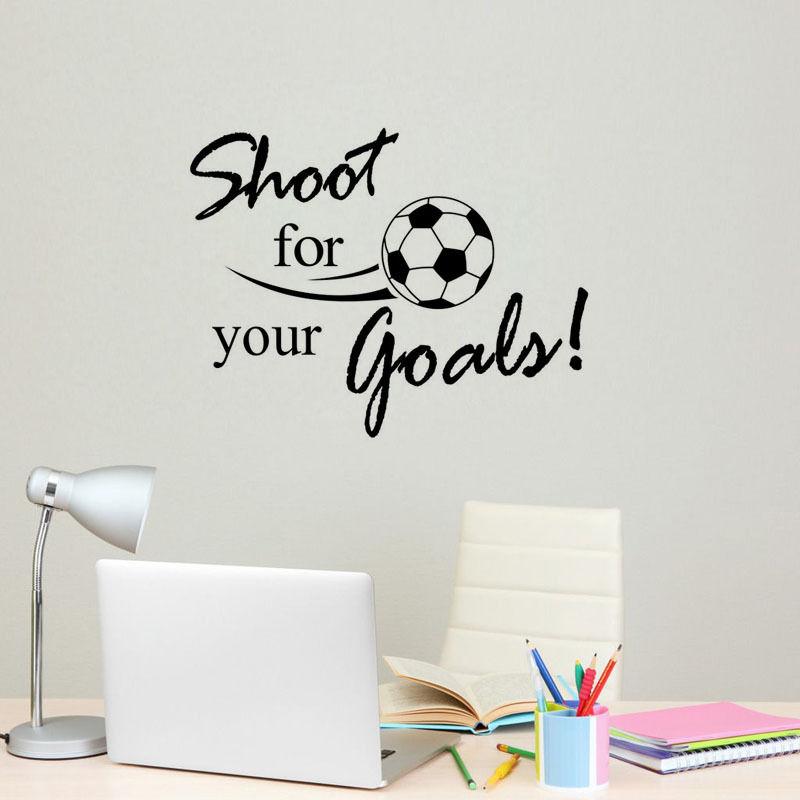 Envío Gratis estilo de fútbol arte decoración de pared adhesivo Shoot For Your Goal pegatinas para pared con frases vinilo extraíble papel tapiz Y-572