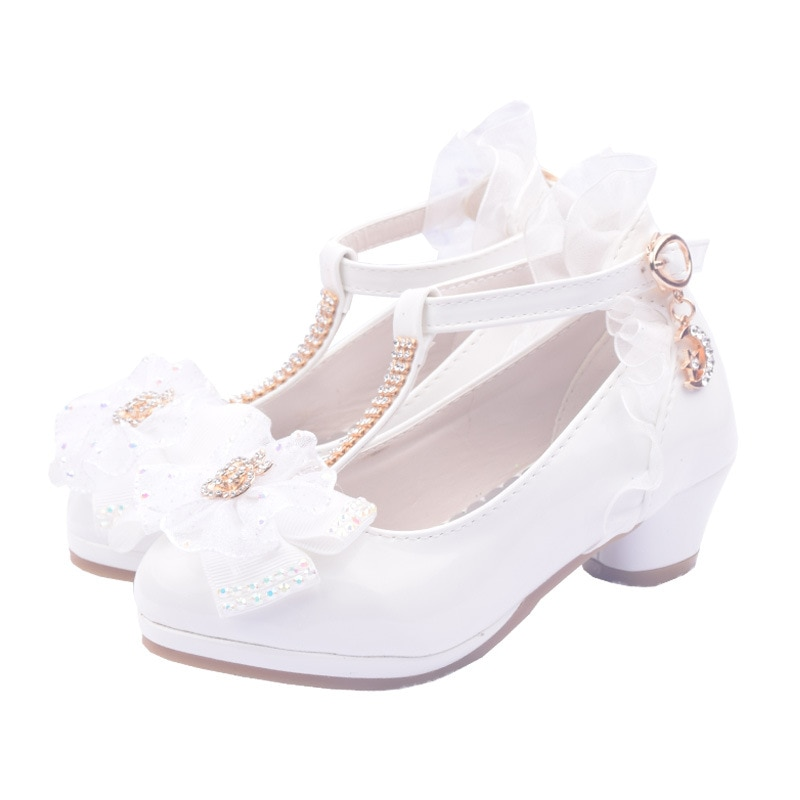 Fashion Kids Flower Diamond Girls Shoes For Party And Wedding Children'S Leather Shoes Dance High-He