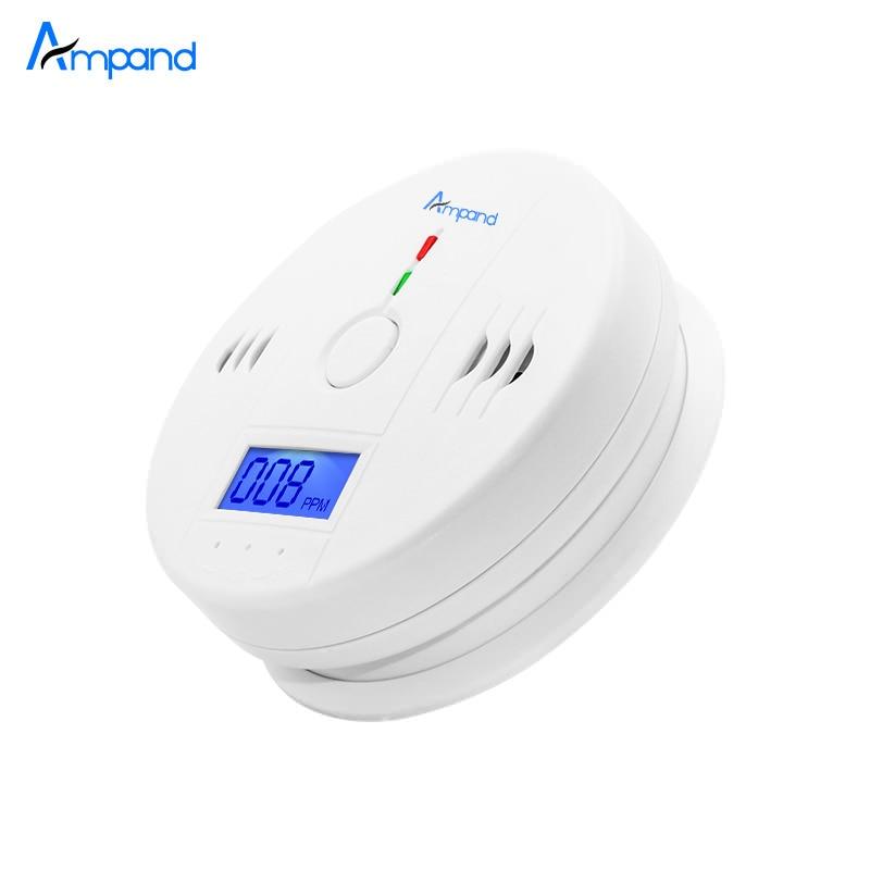Sensor de monóxido de carbono independiente Detector CO alarma con pantalla LCD Digital y advertencia de voz de 85dB operado con batería blanca