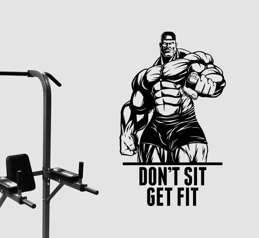 Pegatina para pared con frase Dont Sit Get Fit, pegatina de vinilo para culturista, arte inspirador, sala de deportes, gimnasio, Centro de gimnasio, decoración de estudio D671