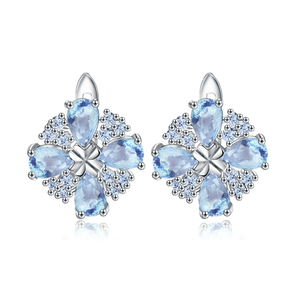 Gema BALLET 4.71Ct Natural cielo azul Topacio pendientes de plata de ley 925 joyería fina para mujer Bijouterie de lujo