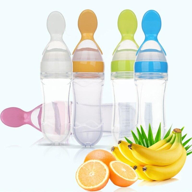 100% New NEW Nipple Fresh Food Milk Nibbler Feeder Feeding Tool Bottle With Spoon Food Rice Cereal Feeder 90ML