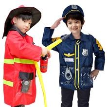 Besegad enfants carrière policier pompier déguisement robe de jouet ensemble pour Halloween jeu de rôle fournitures vêtements professionnels