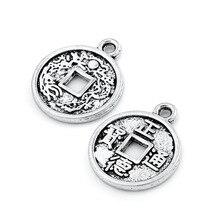 10pcs 중국 스타일 동전 티벳 실버 비즈 매력 펜던트 맞는 팔찌 쥬얼리 결과 마킹 목걸이 DIY 액세서리