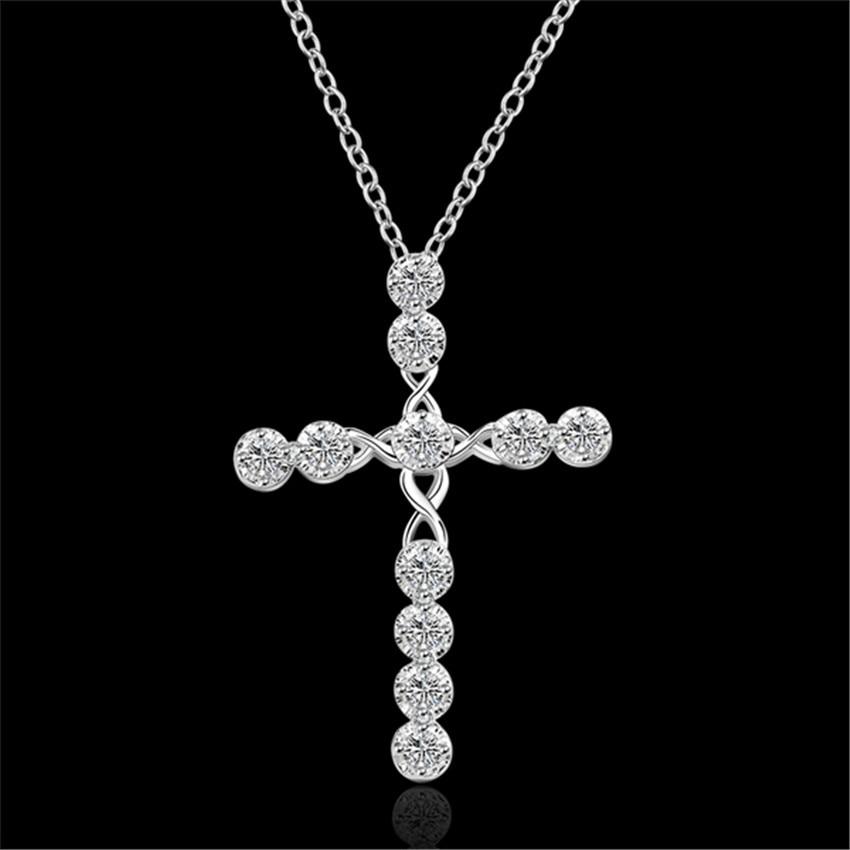 Heißer hohe qualität silber farbe schmuck temperament klassische mode charme Frauen kristall zirkon kreuz anhänger halskette N668 Kinsle