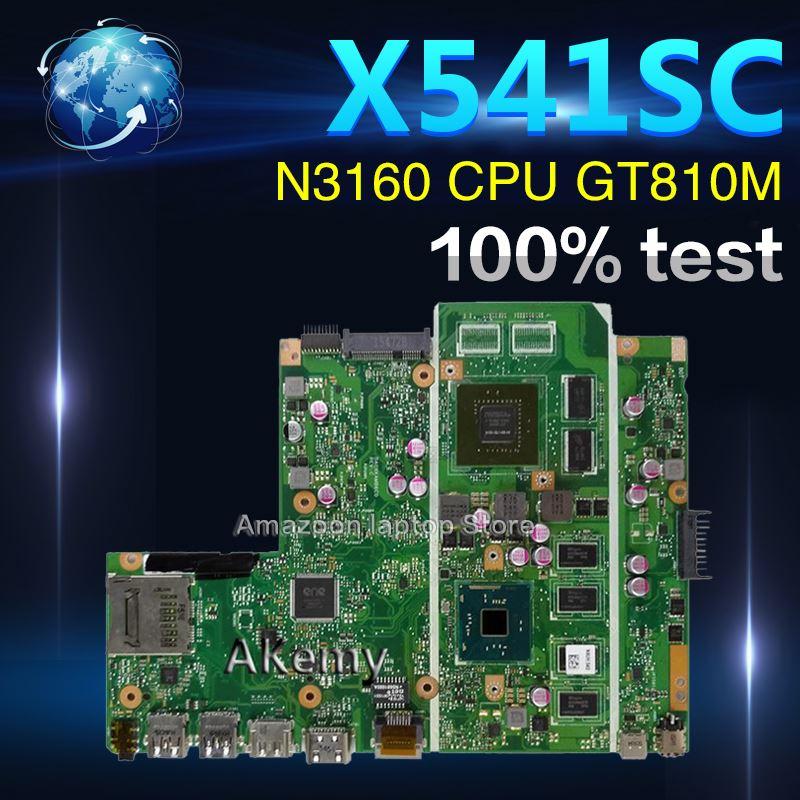 Amazoon X541SC placa base de Computadora Portátil For Asus X541SC X541S X541 Teste placa base original 4g RAM N3160 CPU GT810M-2G
