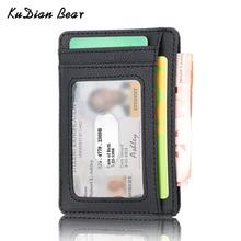 KUDIAN BEAR Rfid Minimalist Men Wallet Small Leather Credit Card Holder Clip Black Male Mini Slim Ca