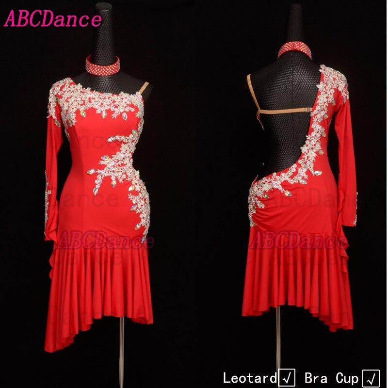 فستان رقص لاتيني رومبا ملابس رقص جيفي قاعة رقص ملابس رومبا/فساتين لاتينية ملابس للرقص لون أحمر مثير بدون ظهر