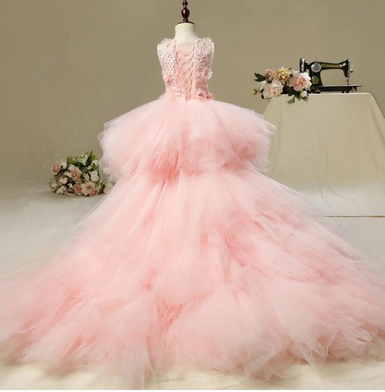 glizt longo trailing flor meninas vestidos para o casamento rosa tutu floral criancas