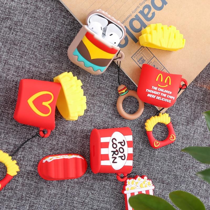 3D diversión dibujos animados patatas fritas inalámbrico para Airpods para Air Pods 2 1 Eaphone caja de carga parejas suave TPU cubierta con el anillo
